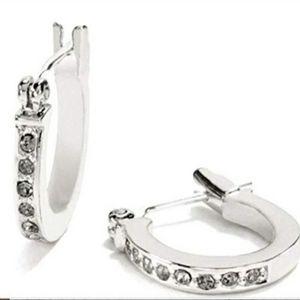 COACH Pave Crystal Huggie Earrings